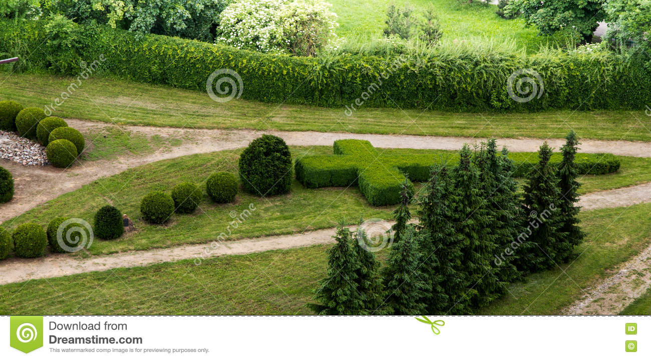 View of the garden with a living rosary in the park next for Rosary garden designs