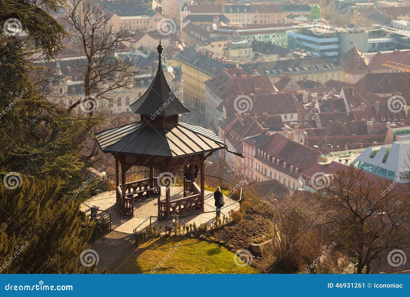 View Of Gazebo On Schlossberg Hill On Top Of Graz City