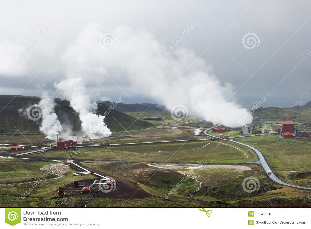 View of the geothermal power station at Krafla, Iceland