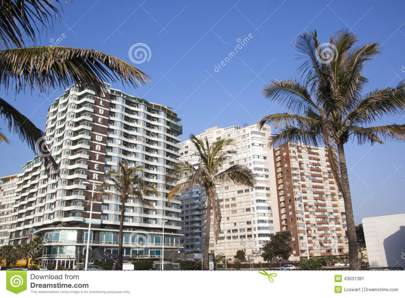 View Of Golden Mile Beachfront Hotels Durban South Africa Editorial