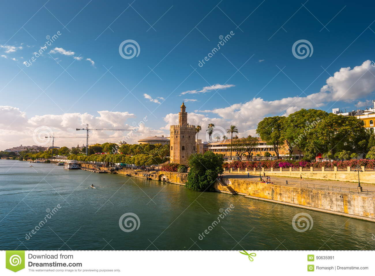 View of Golden Tower, Torre del Oro, of Seville, Andalusia, Spai
