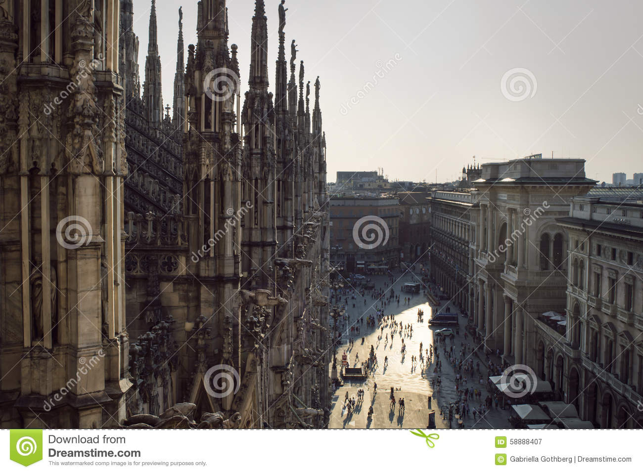 View from the gothic cathedral Duomo di Milano, Italy.