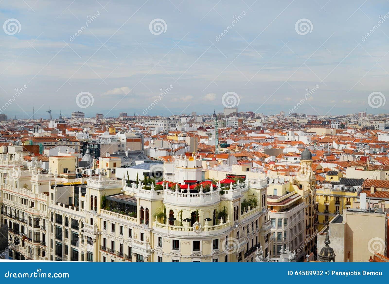 View of the Gran Via, Madrid spain