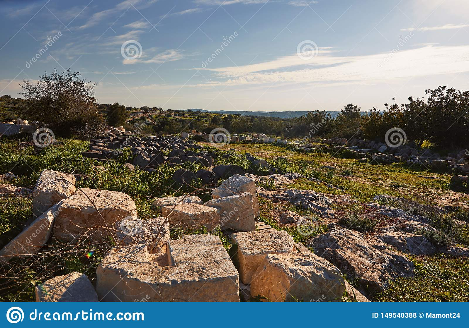 View on green biblical landscape and Archaeological Ruins Beit Guvrin Maresha during winter time, Israel