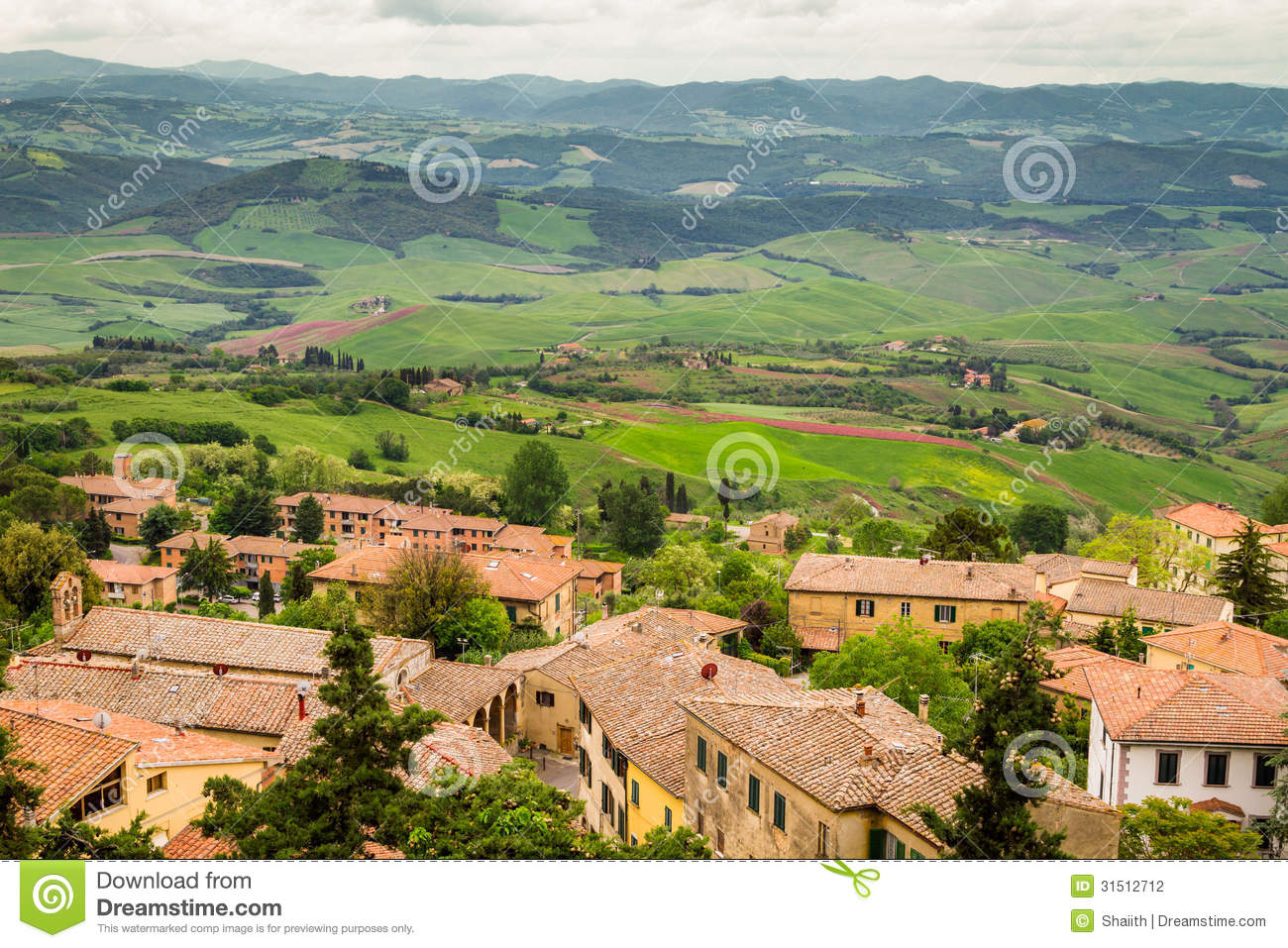 View of a green valley in volterra stock photography for Green italy