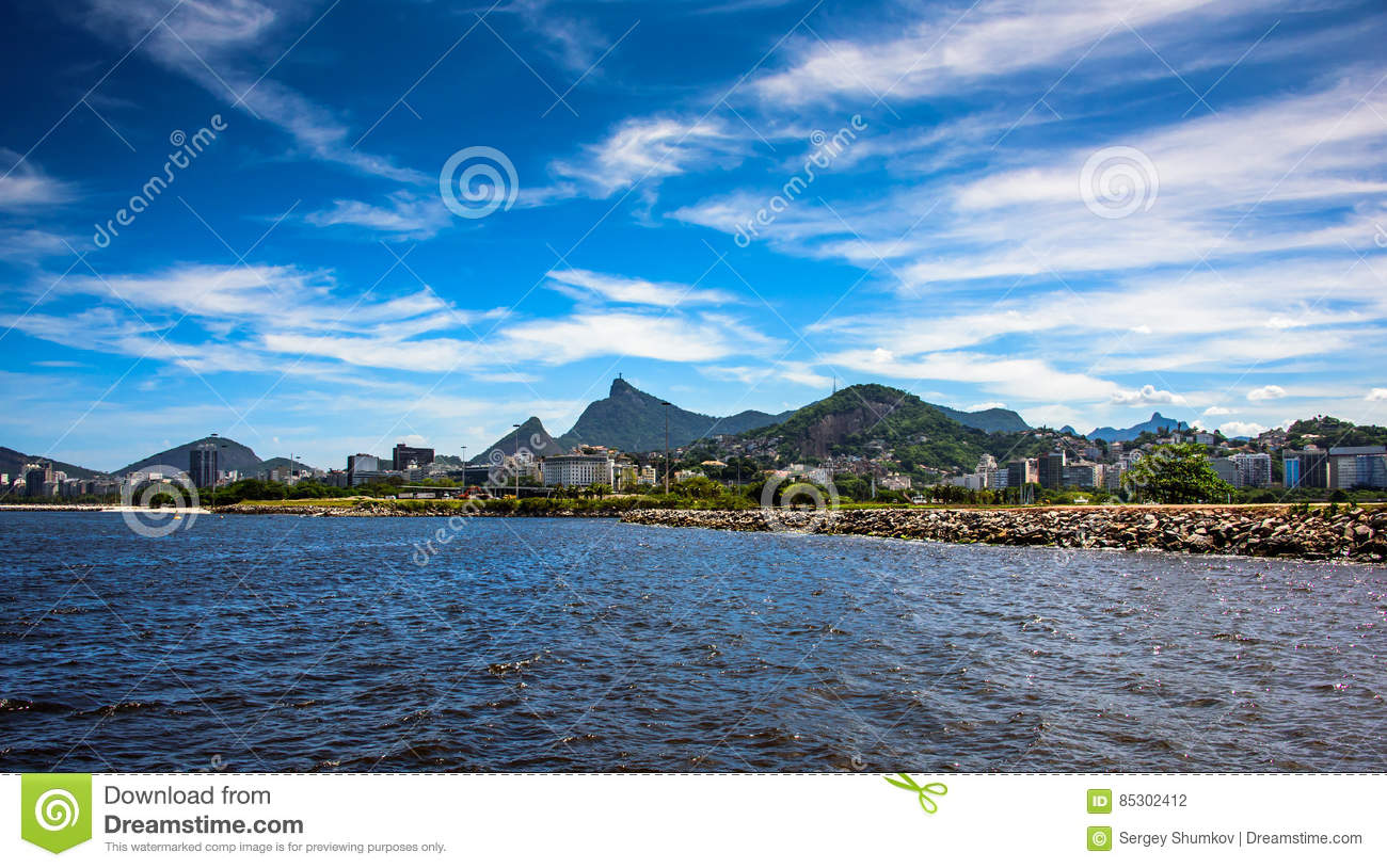 View of Guanabara Bay at sunny day with Christ the Redeemer on the background, Rio De Janeiro