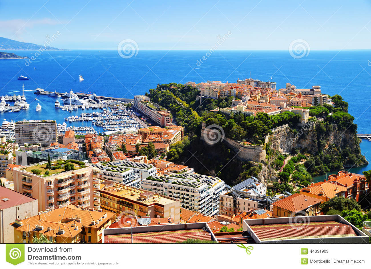 View of the harbor and prince 39 s palace of monaco stock for Riviera house