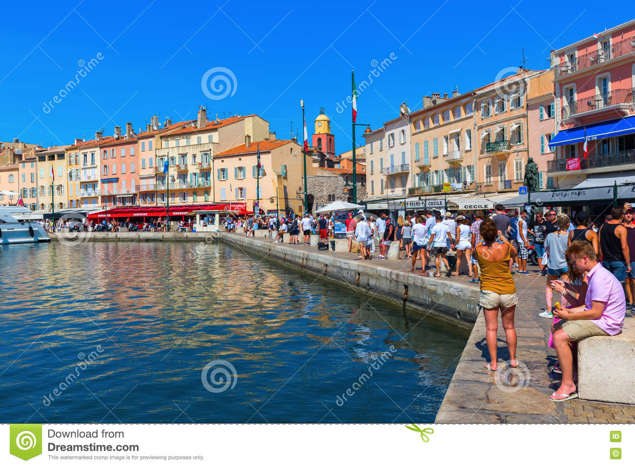 View In The Harbor Of Saint Tropez France Editorial Photography