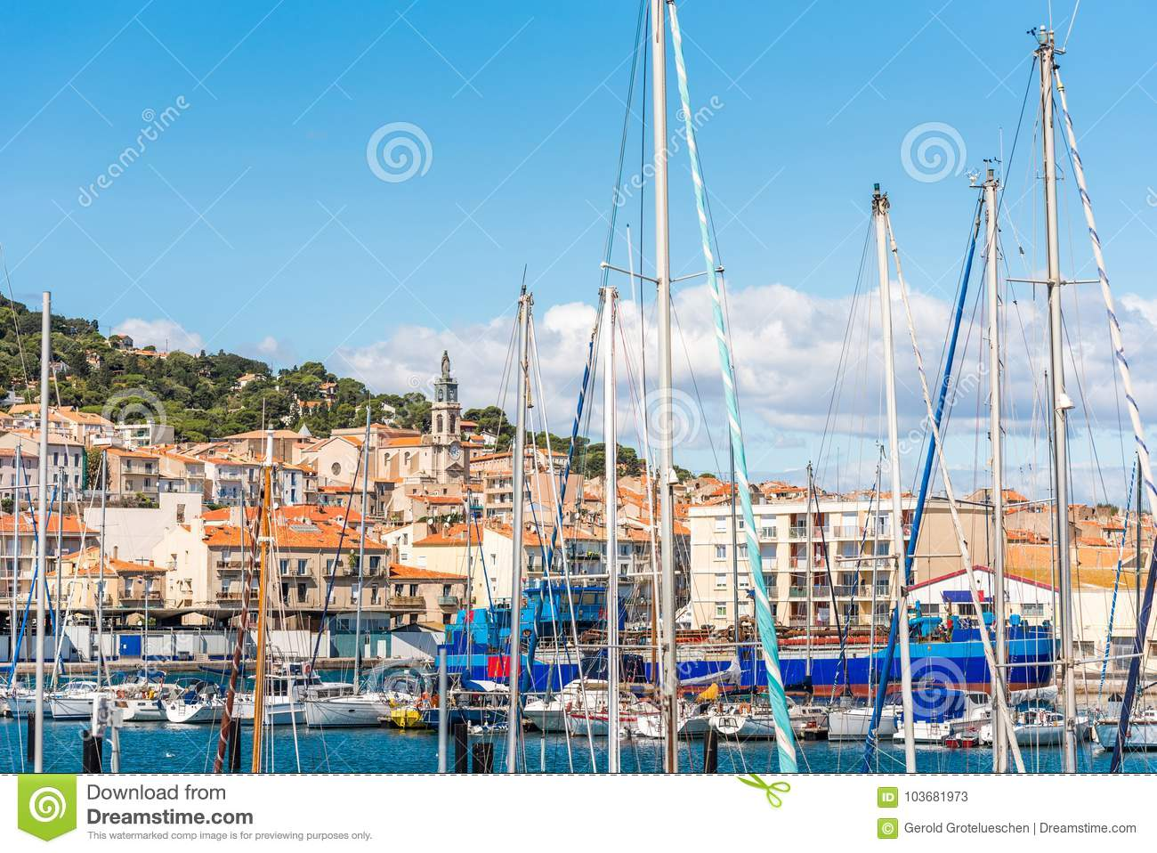 View of the harbor with yachts, Sete, France. Close-up.