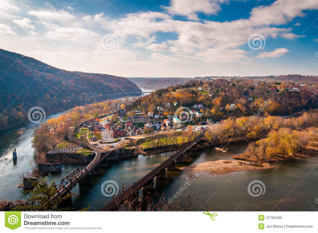 View of Harper s Ferry and the Potomac RIver from Maryland Heigh
