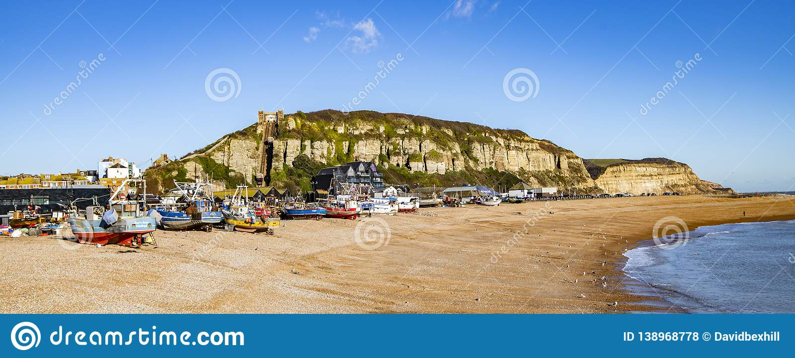 View of the Stade Fishing Quarter, Hastings, East Sussex, England