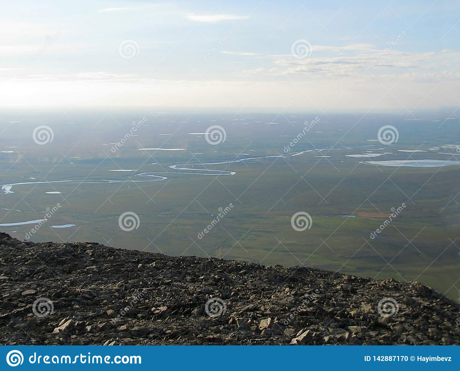 View from a high mountain in the tundra