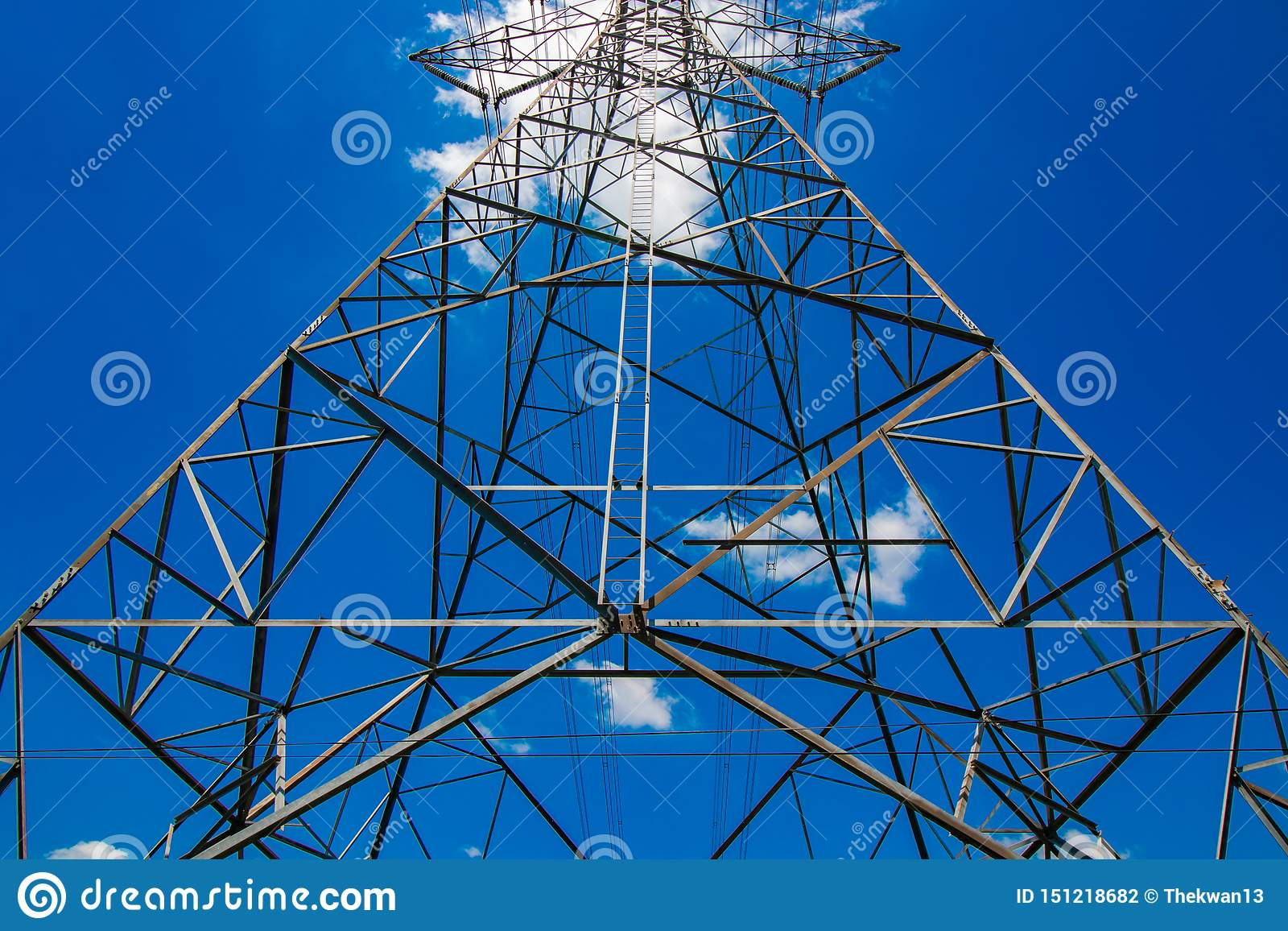 View of High voltage electric pole