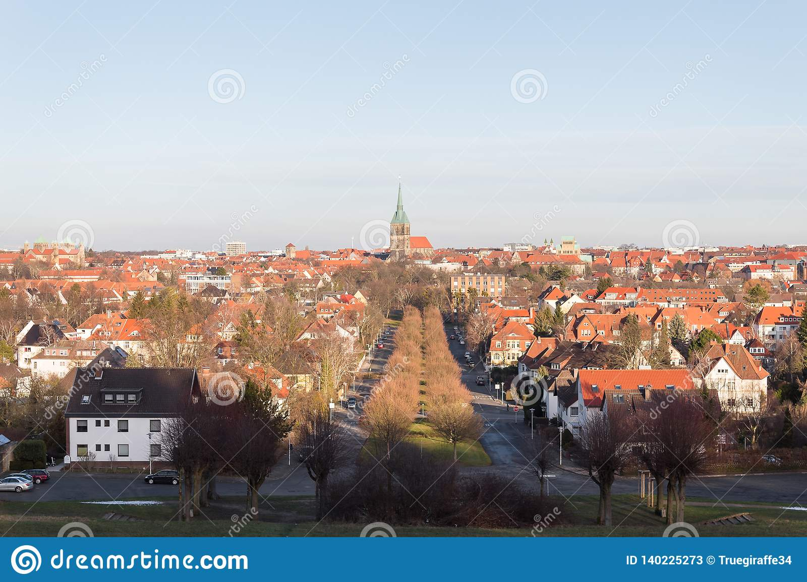 View of hildesheim german city church and rooftops
