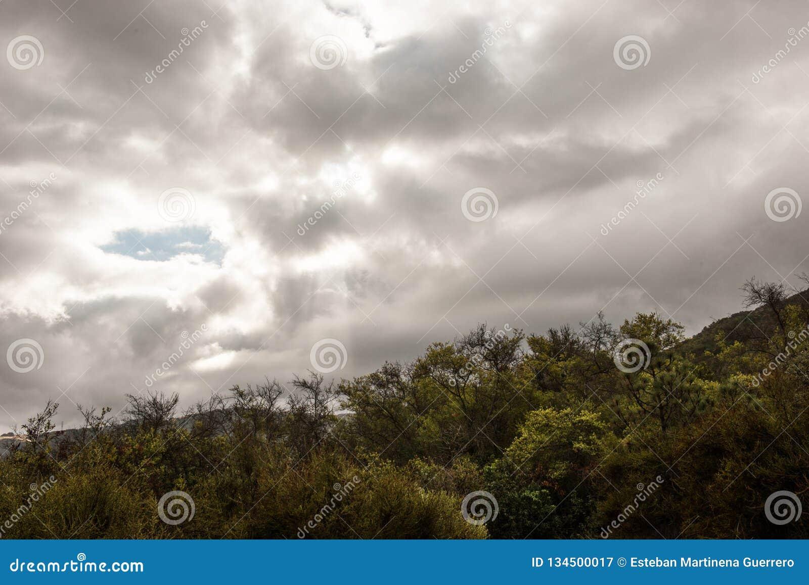 Cloudy sky over vista Point at Santa Ynez Valley, California, USA.