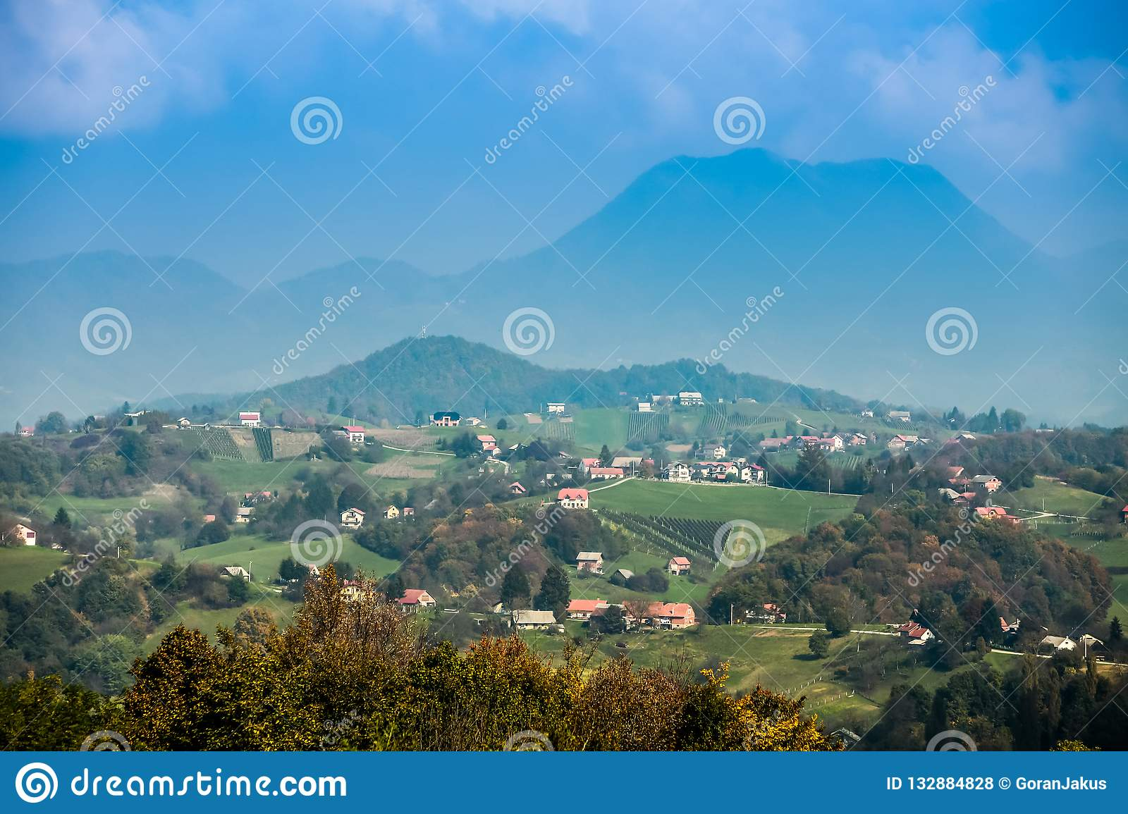 View of hills in Zagorje