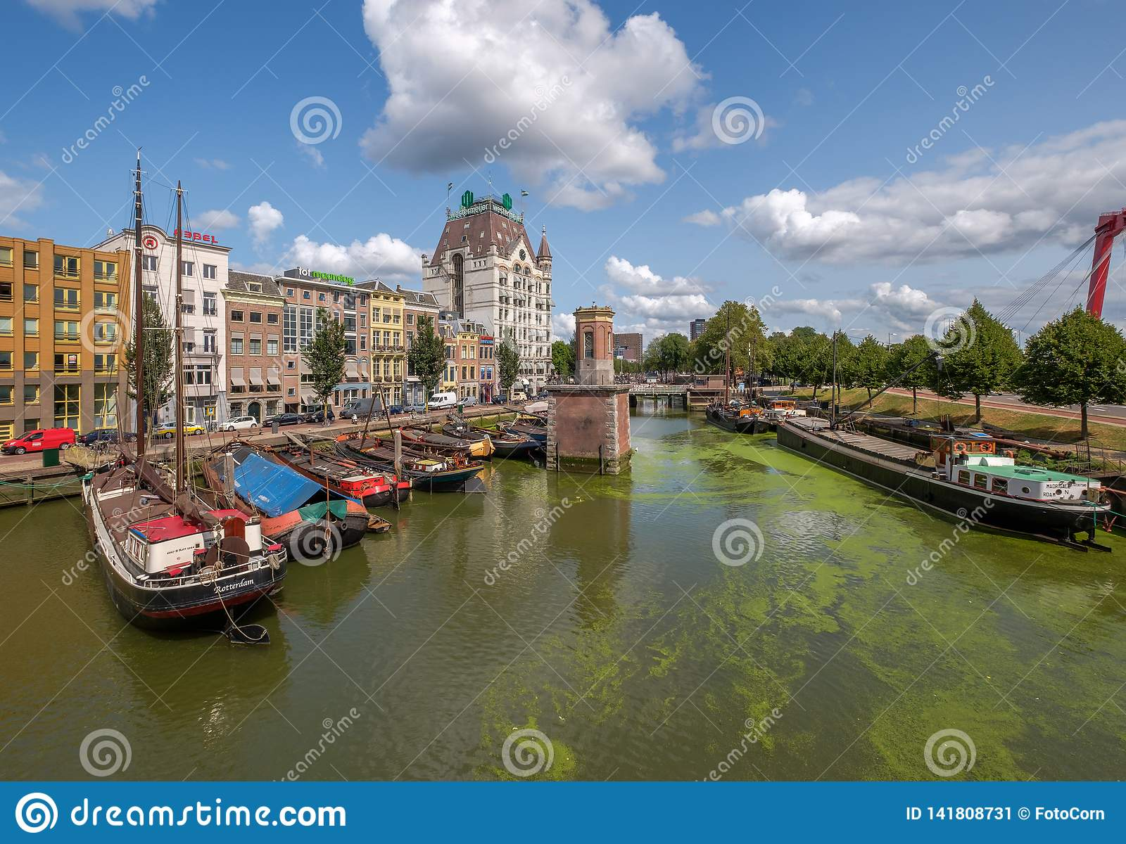 Historical Oude Haven with old ships in city center of Rotterdam
