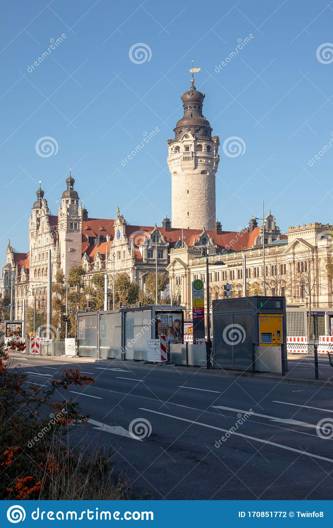 View Of The Historic Leipzig New Town Hall With A Tram Stop Of The Leipzig Public Transport Company In The Foreground Editorial Photography Image Of Cityscape Stop 170851772