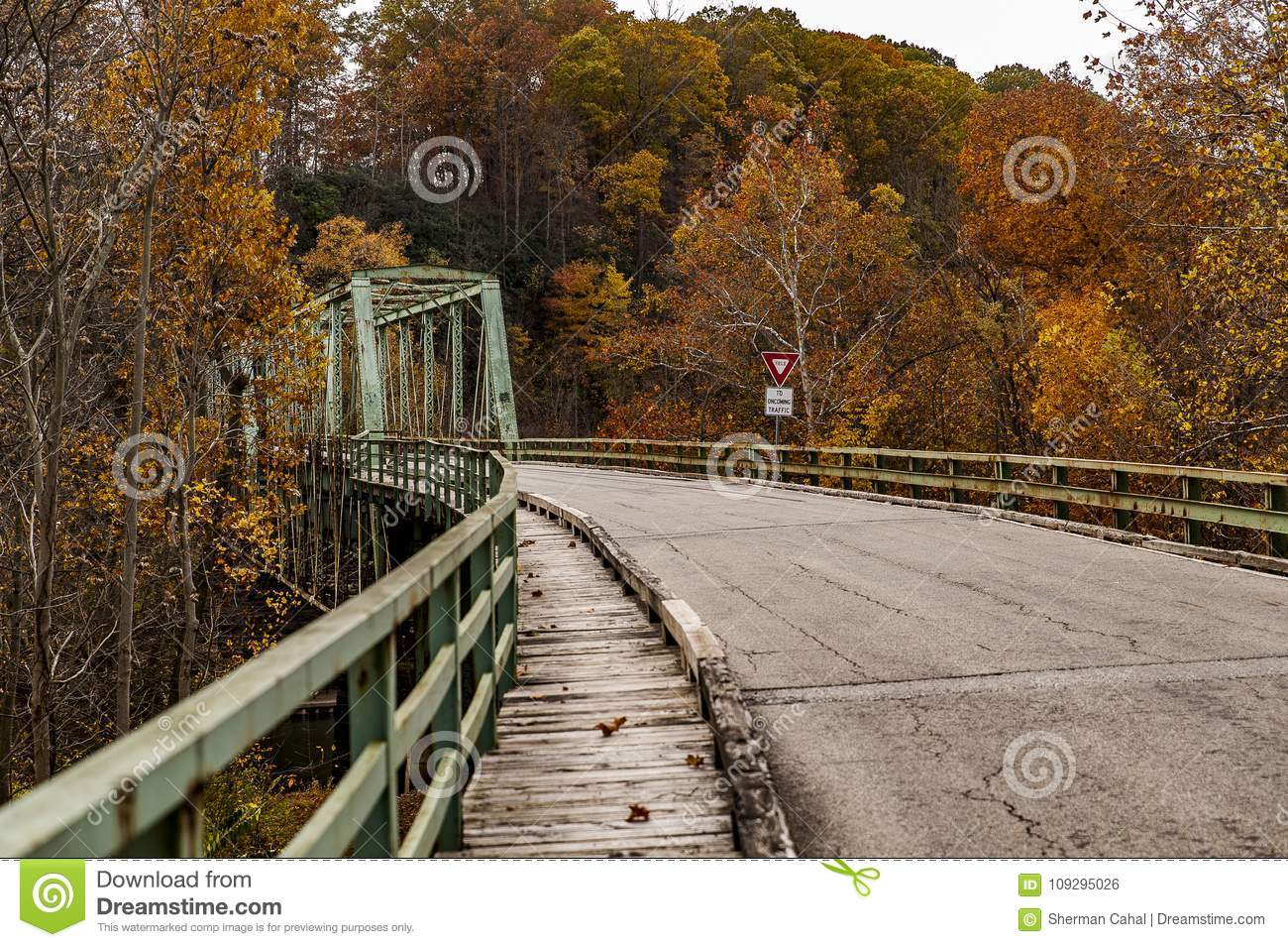 Historic Green Truss Bridge in Autumn - Layton Bridge - Fayette County, Pennsylvania