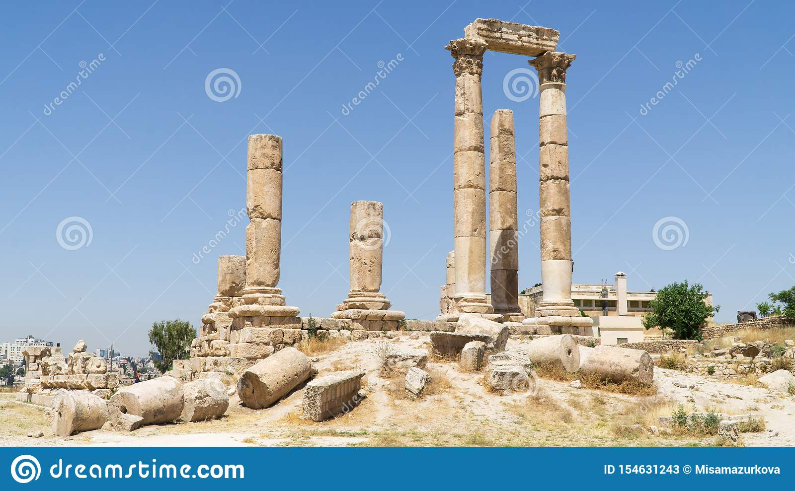 View of the historical site The Amman Citadel situated on the top of the hill in downtown of Amman city, Jordan