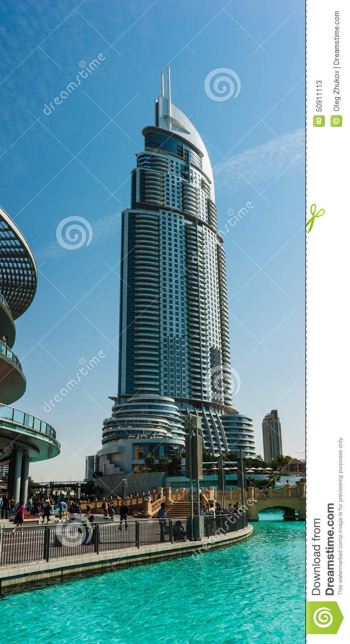 View of hotel the address in the dubai mal stock photo for World biggest hotel in dubai