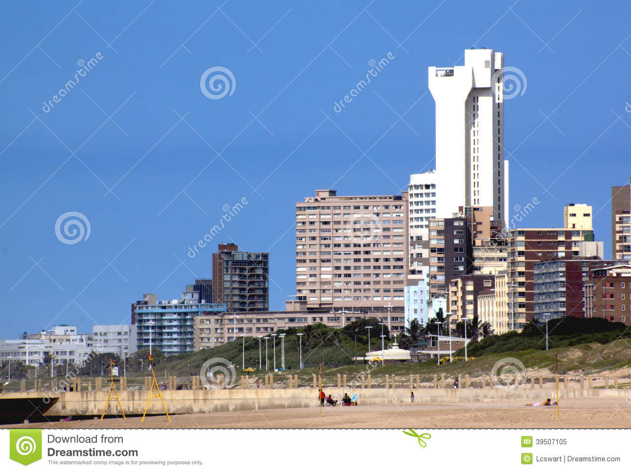 View of Hotels and Residential Buildings from Durban Beach
