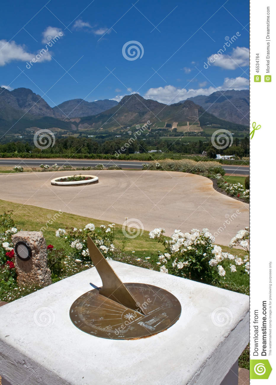 View of the Hottentots-Holland mountains and vineyards from a sundial in Franschhoek