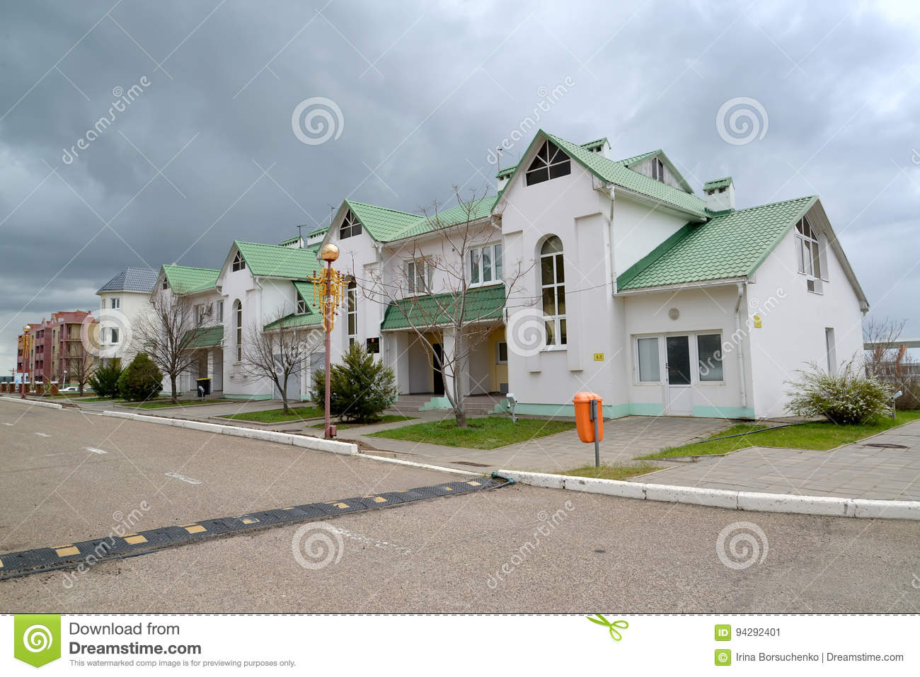 View of a housing estate in `The city of chess` City Chess. Elista, Kalmykia