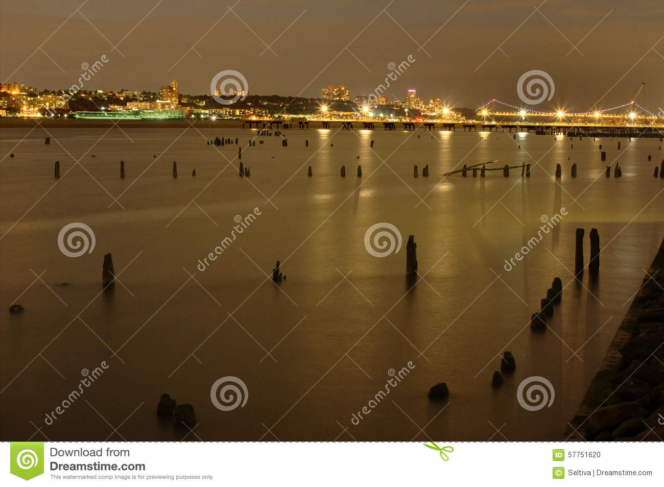 View of the Hudson River and New Jersey at night from Manhattan in New York City