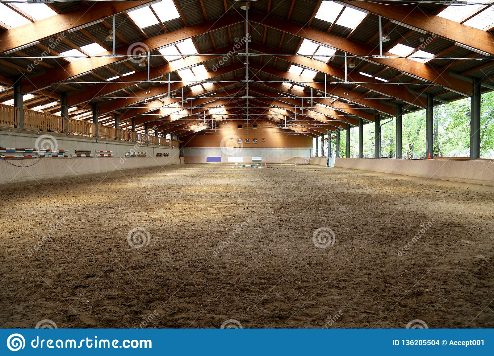 Panoramic View Of An Empty Indoor Horse Riding Arena Stock