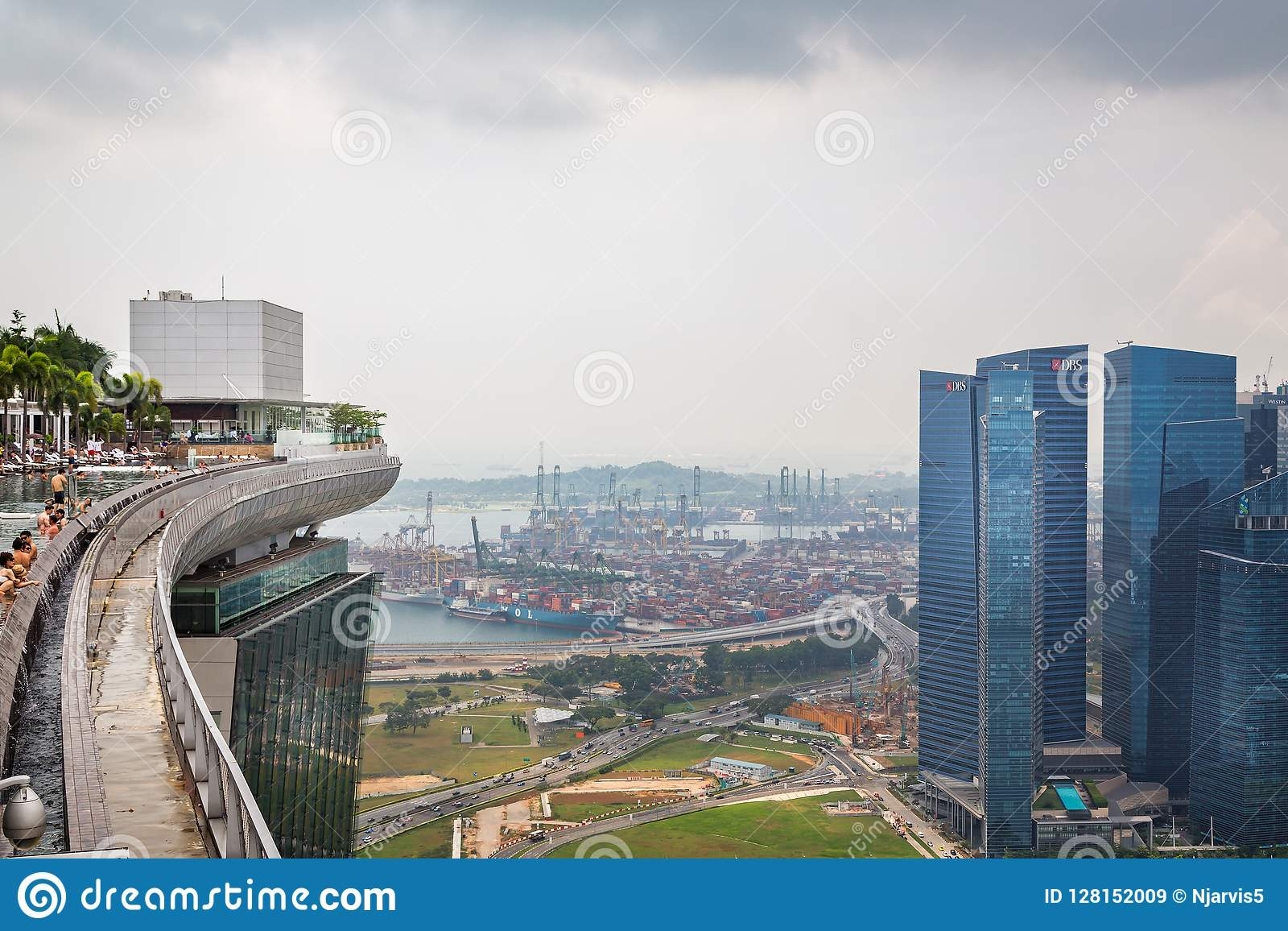 View Of Infinity Pool At Top Of Marina Bay Sands Hotel With Port