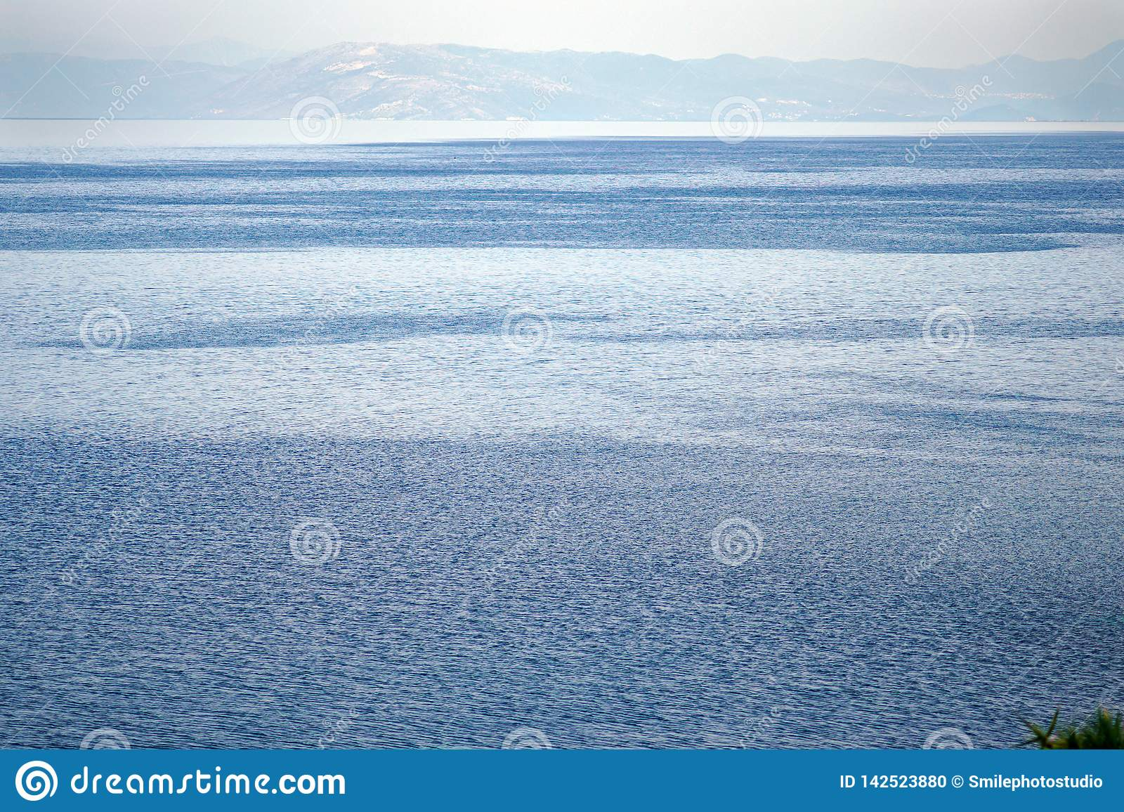 View of the inland sea of Corfu with the coasts of Albania as a background