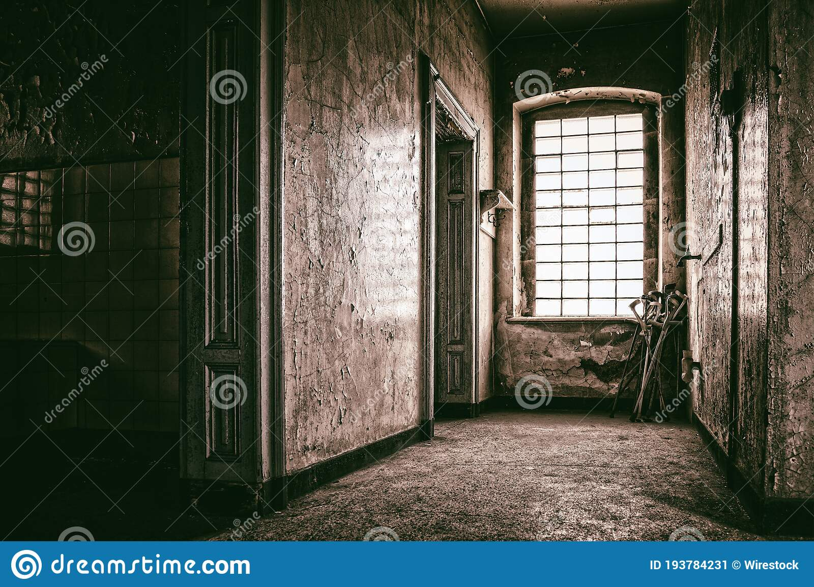 View Inside A Creepy Abandoned House Perfect For A Horror Movie Concept Stock Image Image Of Movie Creepy 193784231