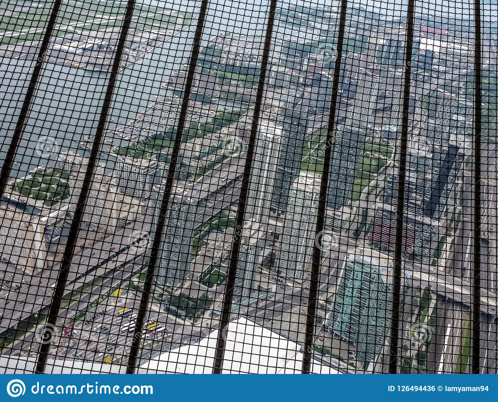 Looking Out From Inside The Cn Tower In Toronto Stock Photo Image