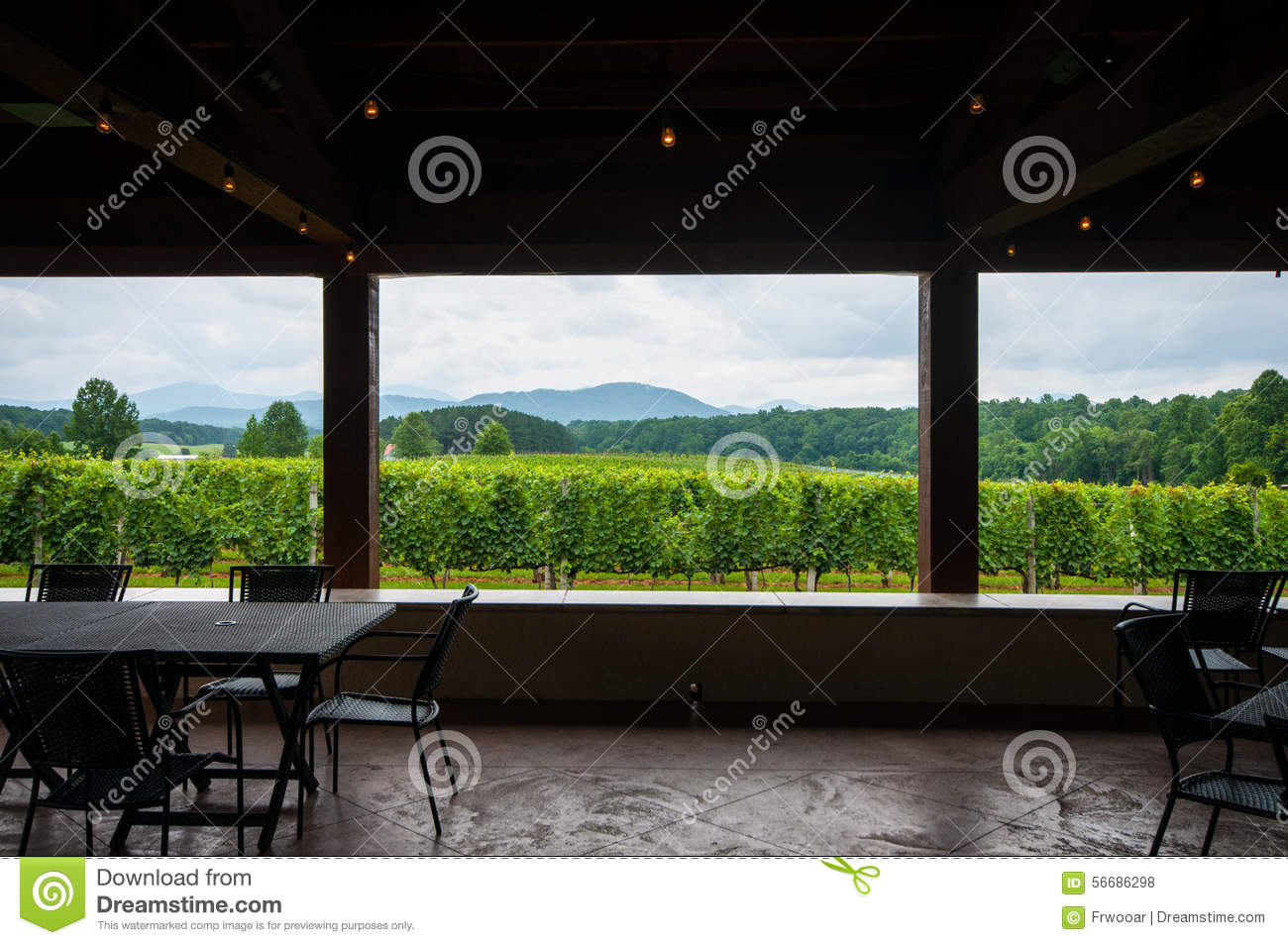 View from Inside Winery Pavillion in Blue Ridge Mountains