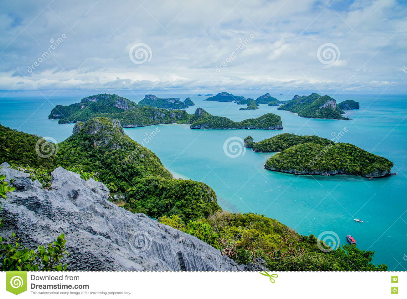 Download View Of Islands And Cloudy Sky From Viewpoint Of Mu Ko Ang Thong National Marine Park Near Ko Samui In Gulf Of Thailand Stock Image - Image of marine, province: 80558283