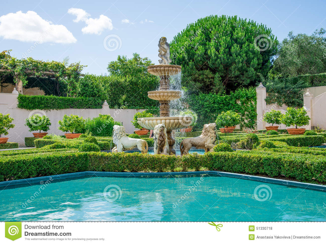 Water fountains outdoor new zealand - A View Of Italian Garden In Hamilton Botanical Gardens In New Zealand