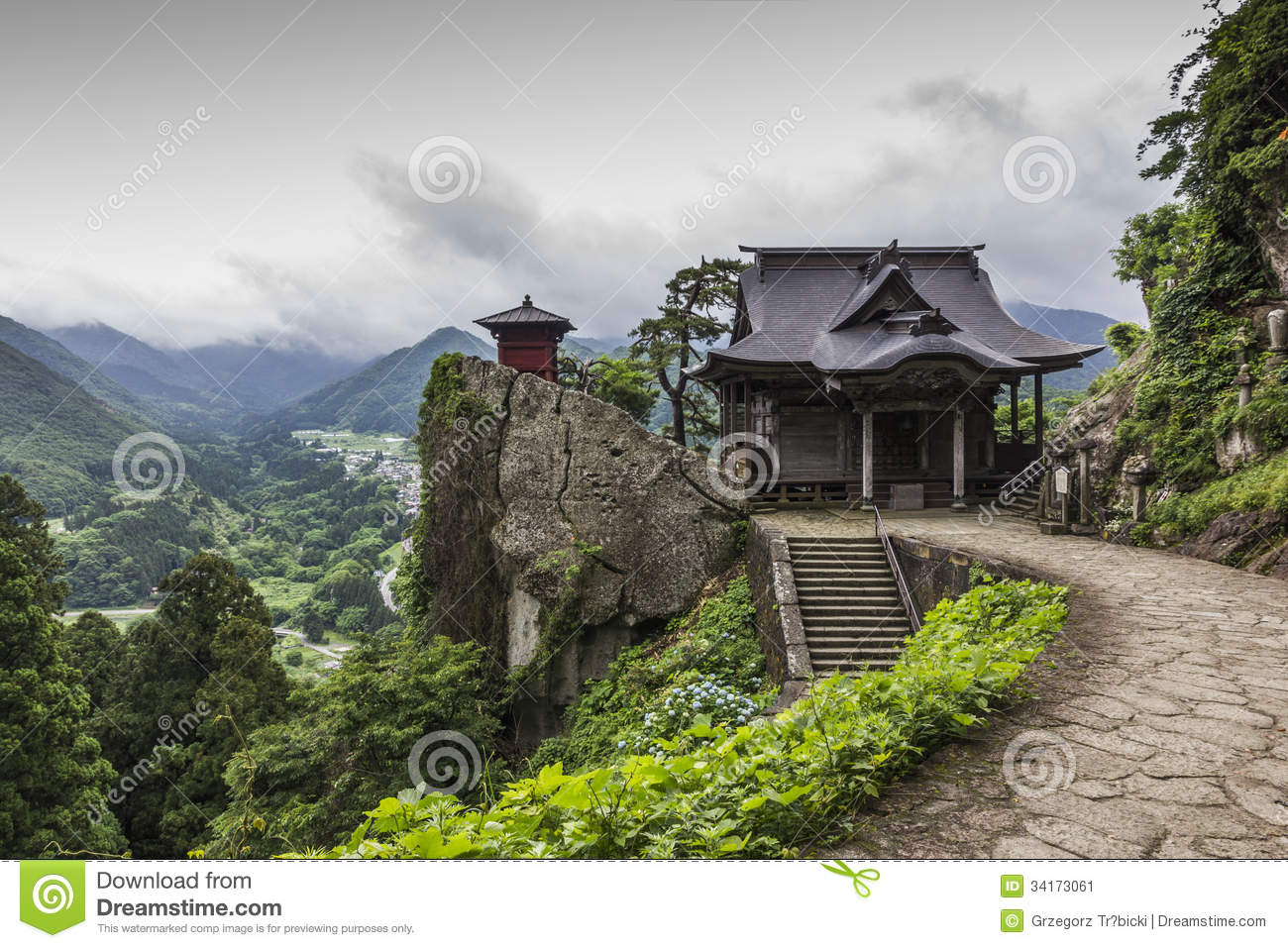 Buddhist Ceremony Traditional Japanese Garden: View Of Japanese Buddhist Temple In Yamadera With