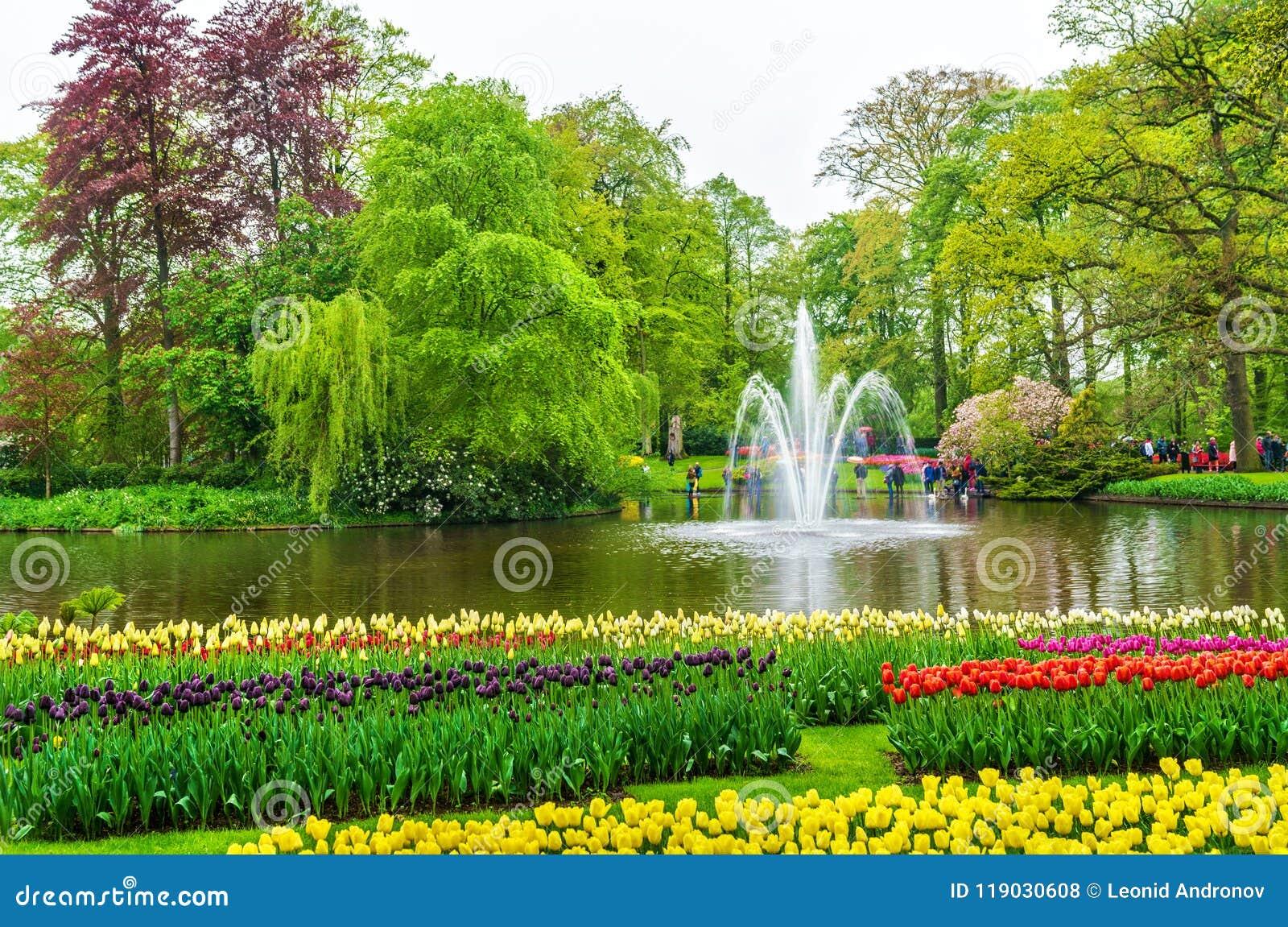 View Of Keukenhof Garden Also Known As The Garden Of Europe In