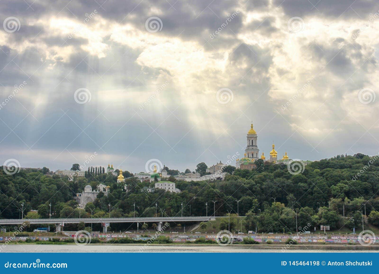 View of Kiev Pechersk Lavra and Dnepr river. Kiev, Ukraine
