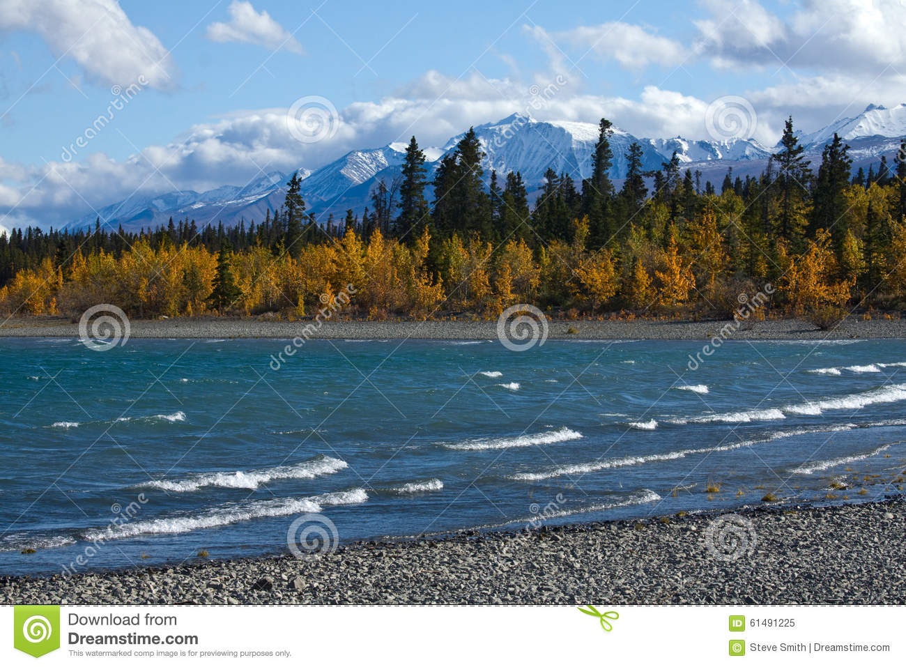 View of kluane lake and front range of st elias mountains for Lake front view