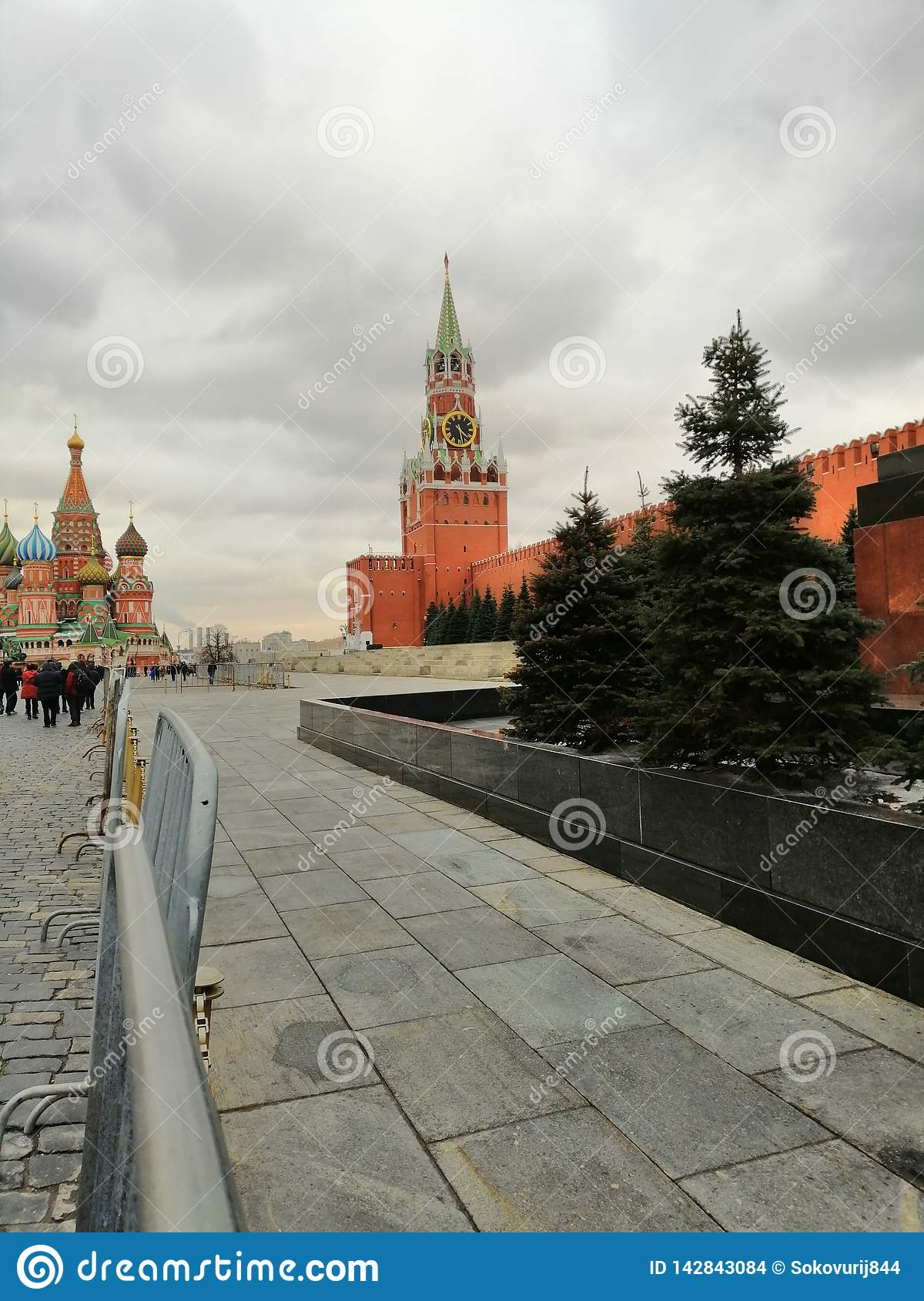 View of the Kremlin clock tower and the temple