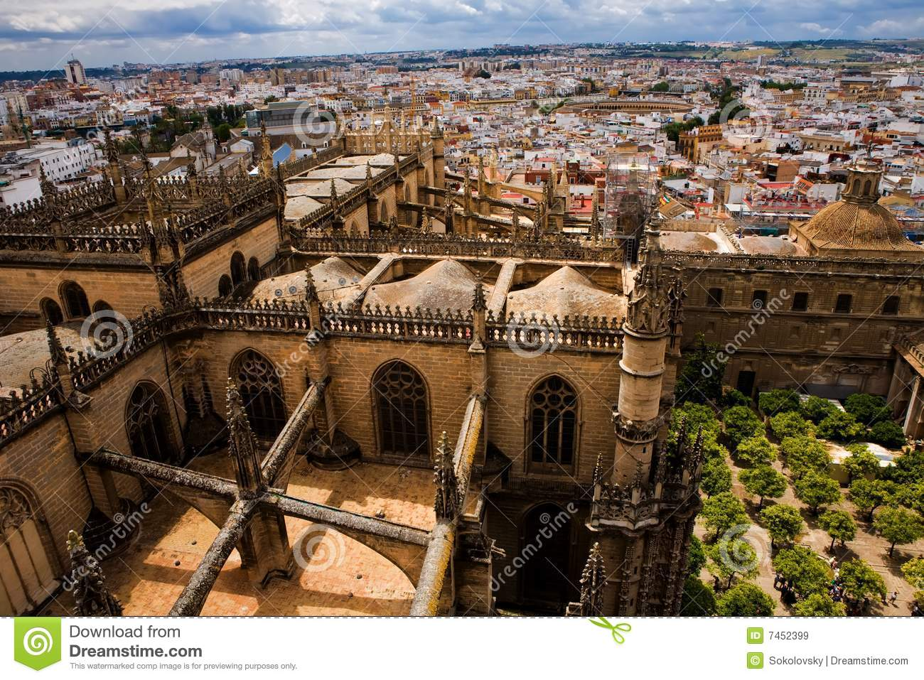 View from La Giralda tower of Seville Cathedral