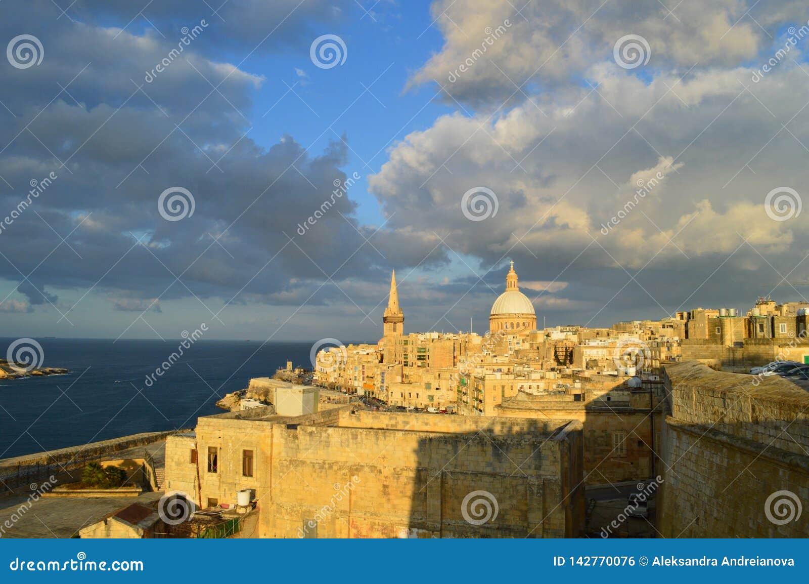 Sunset of Malta. La Valletta`s view. old town