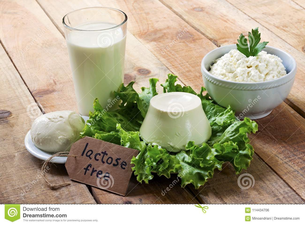 Lactose free - food with background