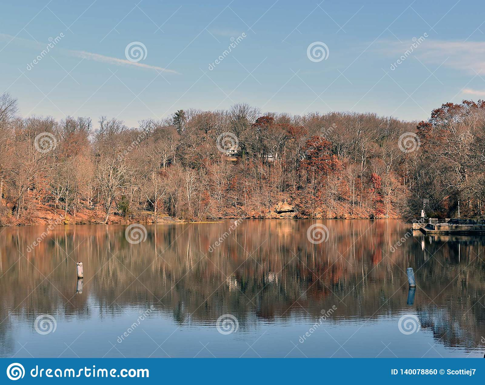 A view of a lake on a fall day
