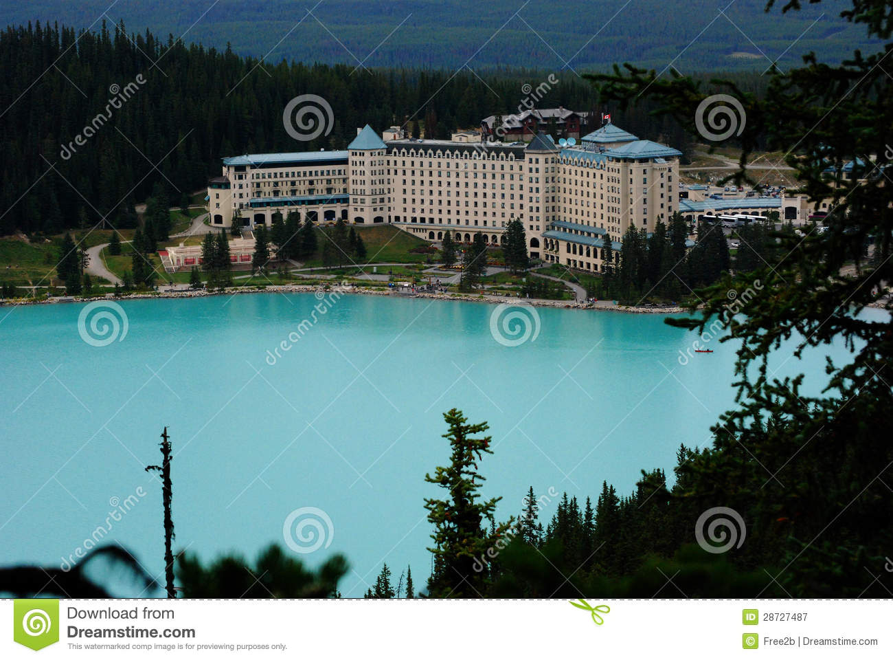 View Of Lake And Famous Hotel In National Park Canada