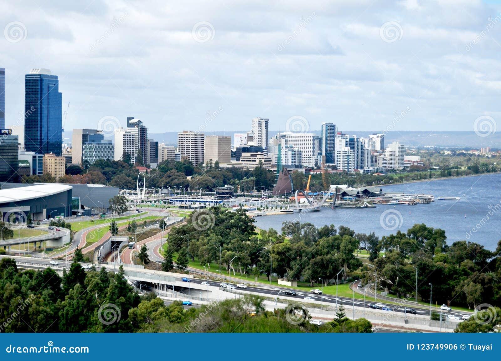 view landscape and cityscape of perth city australia editorial photo image of architecture. Black Bedroom Furniture Sets. Home Design Ideas