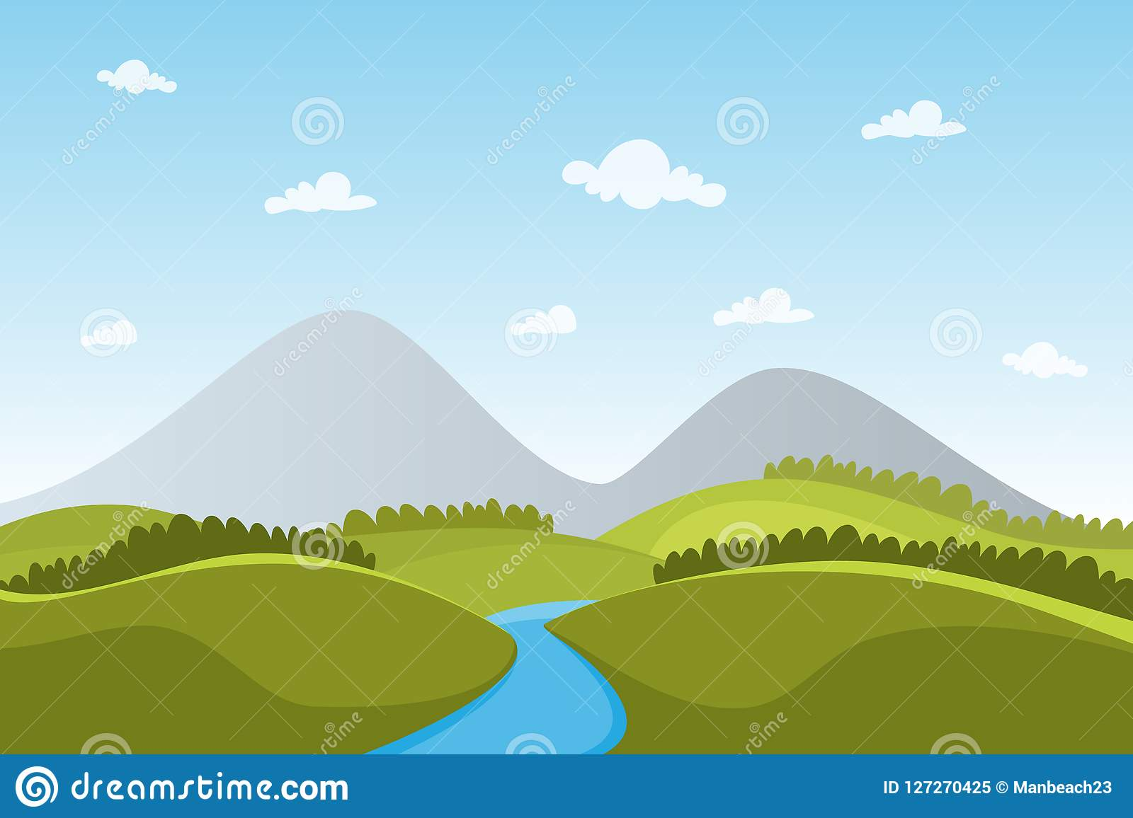 View Landscape Nature Mountain Vector For Poster Stock Vector