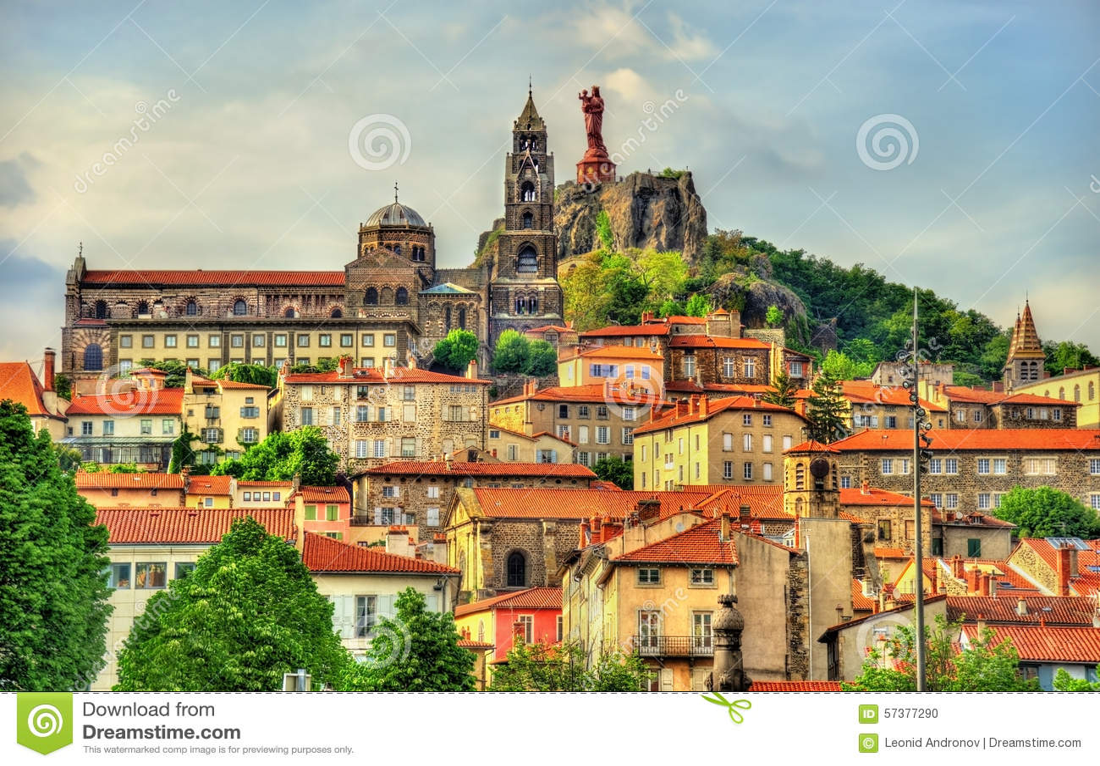 view of le puy en velay a town in haute loire stock photo image 57377290. Black Bedroom Furniture Sets. Home Design Ideas